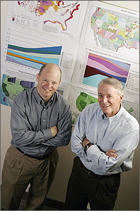 Photo of NREL analysts Walter Short and Nate Blair standing in front of charts, graphs, and maps that show results from the Wind Deployment System (WinDS) model.