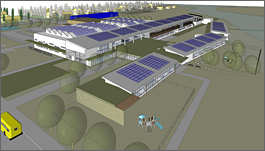 Architectural drawing showing an aerial perspective view of the proposed new school buildings. Solar cells are seen on the roofs of the buildings as are a series of skylights designed to light the interior with daylight.