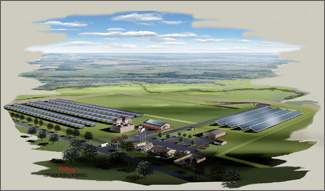 Color illustration of the Solar Technology Acceleration Center in Aurora with a visitor centers and other offices flanked by solar technology systems.