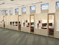 Drawing Of Offices With Privacy Walls And Windows.