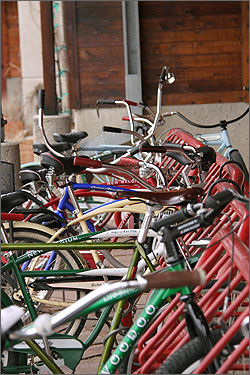 Photo of many colorful bicycles in a row