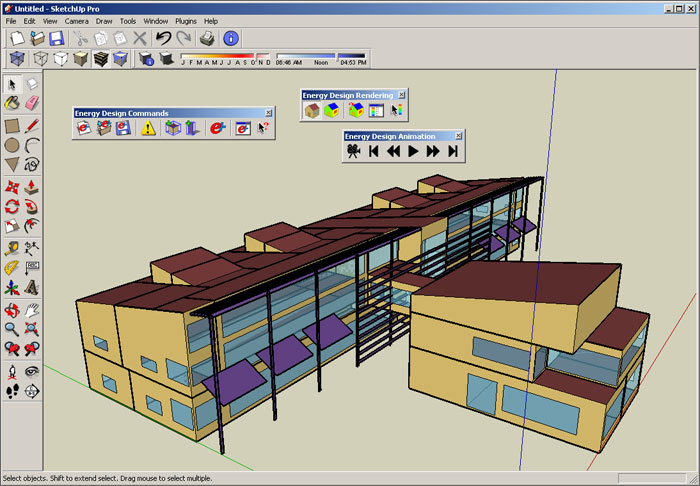 Image of a computer screen showing the drawing of a building and software tools that a user of OpenStudio would see.