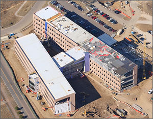 Photo of the Research Support Facility building shown from above.