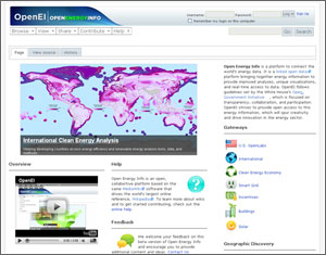 Photo of a computer screen showing an OpenEI Web page.