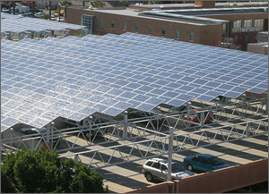 Photo rendering of a parking lot covered in solar panels.