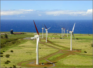 Photo of seven wind turbines on a grassy coastline with the blue Pacific in the background.