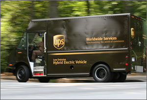 Photo of a UPS hybrid electric delivery van.