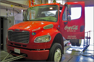 Photo of a Coca-Cola delivery truck in NREL's ReFUEL Lab.