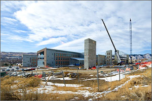 Photo of a building under construction on the NREL campus.