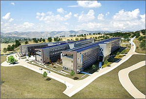 Photo rendering of the fully built Research Support Facility.