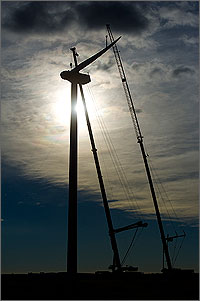 This photo shows twilight, and the sun barely peaking through clouds, making the wind turbine tower and the two cranes appear as dark columns.