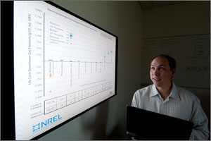 In this photo, a scientist holds a laptop, looking up at a projection that graphs greenhouse-gas emissions for various generation technologies.