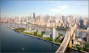 Artist rendering of the proposed Cornell NYC Tech campus, which consists of several buildings on an island adjacent to Manhattan.