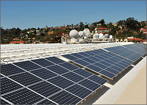 Photo of PV panels on top a building