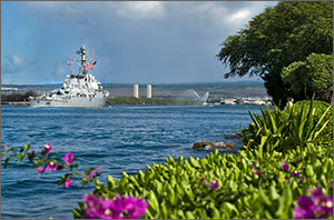 Photo of the USS O'Kane (DDG 77) returning to U.S. Joint Base Pearl Harbor-Hickam.