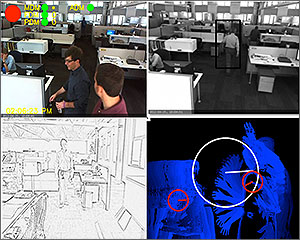 This image is divided into quarters, one showing occupancy data in an office space; another  identifying a black-and-white image of a person walking down a hall; another showing an image for illuminance estimation; and another showing output from the motion detector on a black background.
