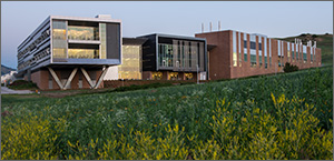 This photo shows a modern laboratory building with sunlight reflecting off windows. In the foreground are prairie grasses.