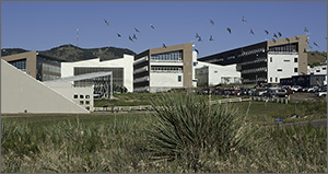 In this photo, dozens of birds fly above a four-story building that has three wings jutting into the foreground. In the background are the mesas that form a backdrop to NREL's main campus.