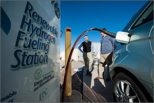In this photo, the hose of a hydrogen refueling device forms an arc above two men. In the foreground to the right is the side of a car, with the device plugged into what looks like a standard gasoline fuel tank. To the left in the foreground is a large sign that says