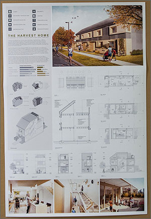 Photo of a poster showing a single-family attached townhome design.