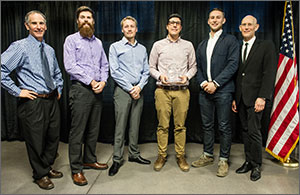 Photo of the six men, including the winning Urban Harvest team from Ryerson University.