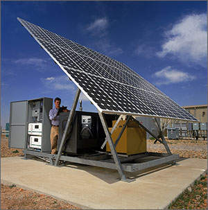 Photo of microgrid equipment, including a large photovoltaic panel.
