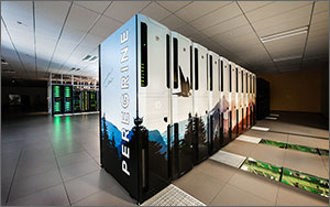 This photo shows a woman standing by computer racks in a data center.