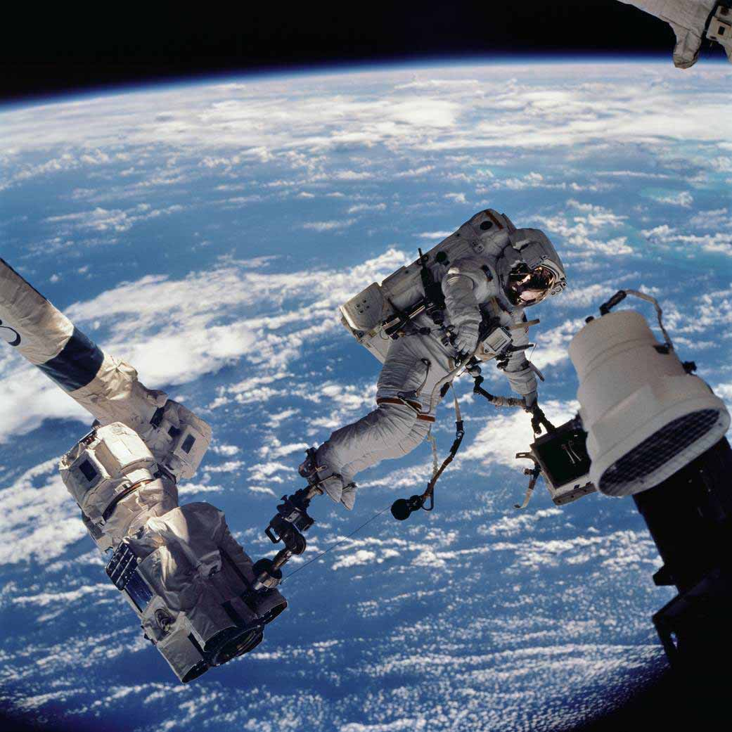 An astronaut floating in space. Image courtesy of NASA.