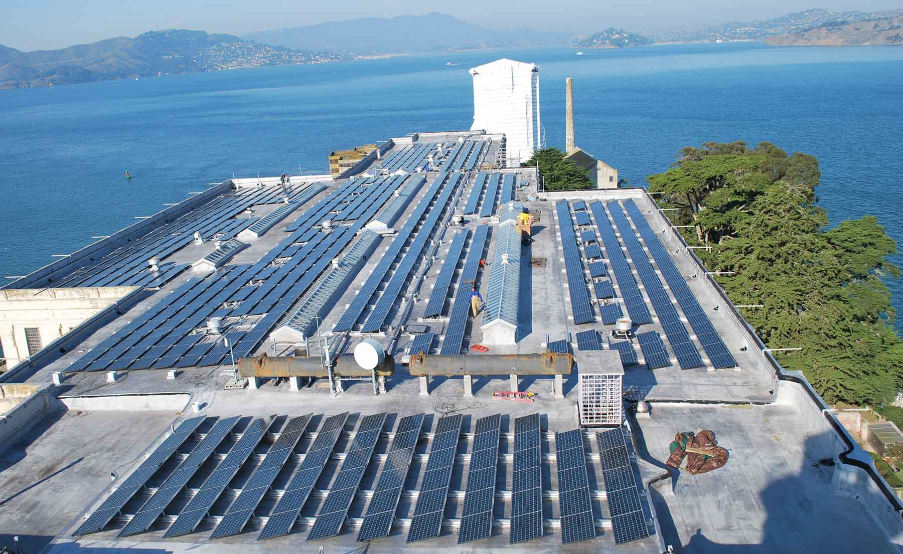 Photo of solar panels on the roof of Alcatraz's cellhouse building
