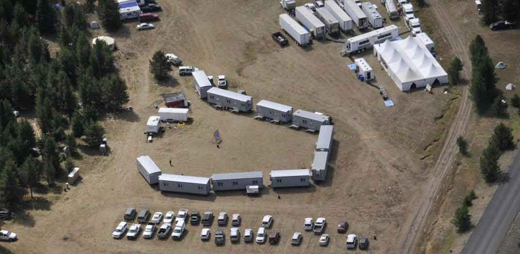 Aerial photo of a fire camp.