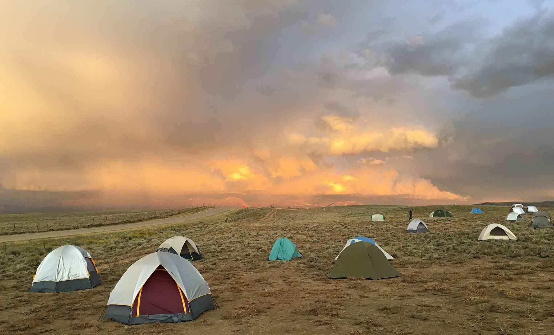 Photo of several tents pitched in an open field.
