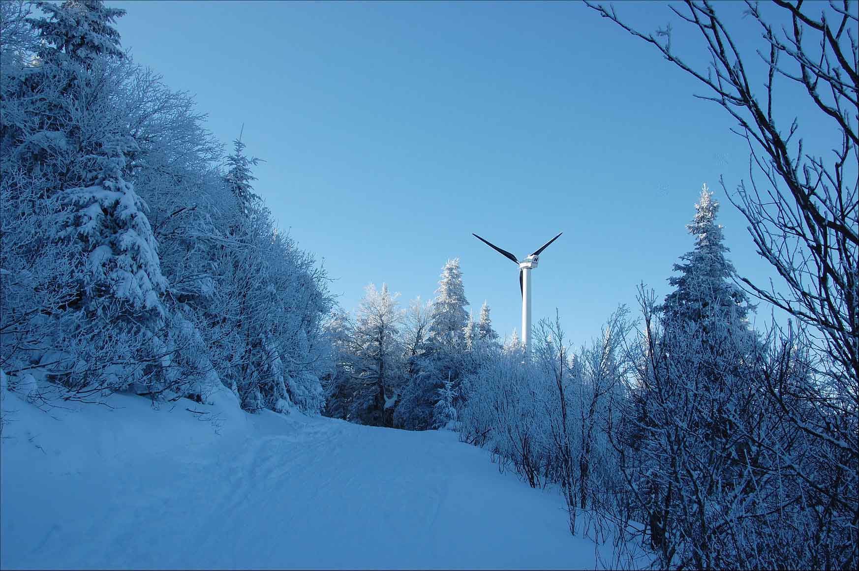 A distributed wind turbine on a snowy mountain.