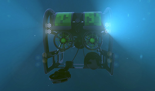 Image of a deep-see remote-operated vehicle underwater
