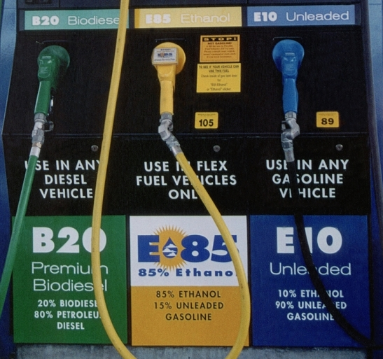 Photo of fueling pump with B20 biodiesel (20% biodiesel; 80% petroleum diesel) for use in any diesel vehicle, E85 ethanol (85% ethanol; 15% unleaded gasoline) for use in flex fuel vehicles only, and E10 unleaded (10% ethanol; 90% unleaded gasoline) for use in any gasoline vehicle.