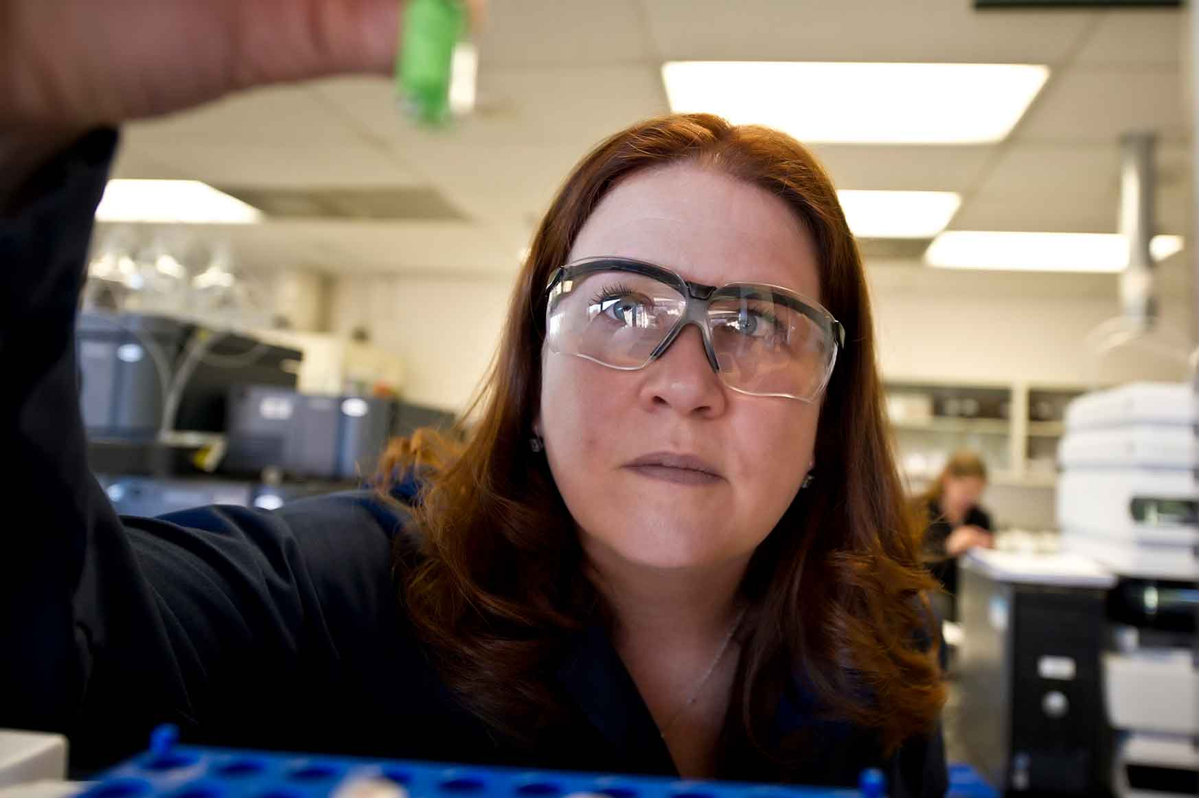 NREL Senior Scientist Teresa Alleman works in her biofuels research lab at NREL in Golden, Colorado.