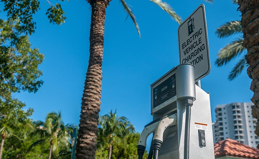 An electric vehicle charging station