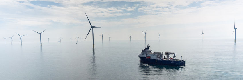Photo of offshore wind turbines.