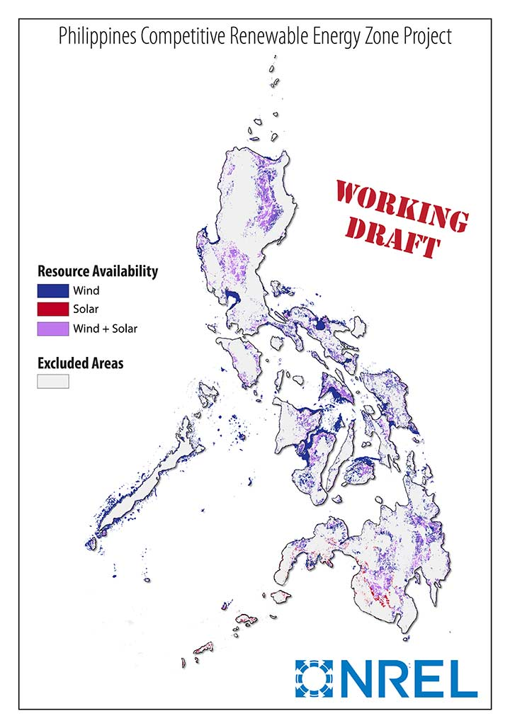 This is a map of the Philippines that shows the areas that have high-quality renewable energy resources: wind (blue), solar (red), and wind + solar (purple).