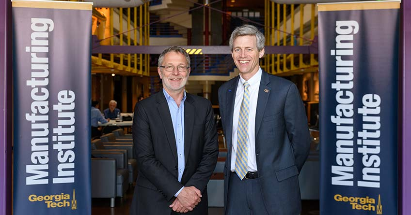 Martin Keller, NREL laboratory director, and Tim Lieuwen, executive director of the Strategic Energy Institute at Georgia Tech, meet at Georgia Tech.