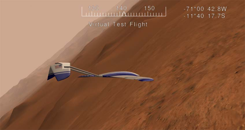 A screenshot of a virtual test flight simulation including an aircraft above the surface of Mars