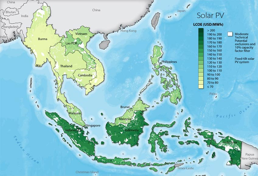 A map of solar PV potential in SE Asia.