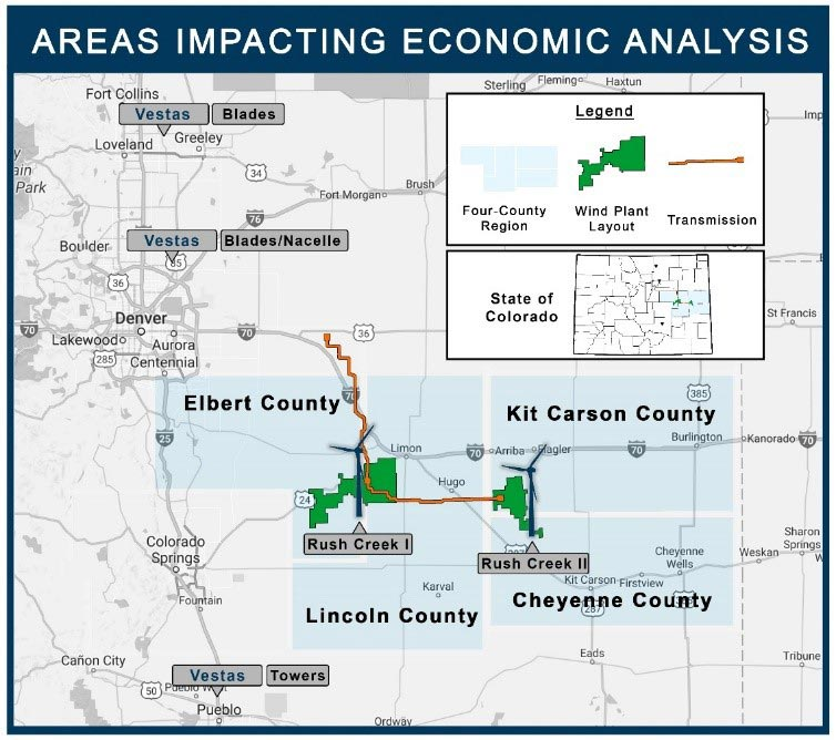 Map showing areas impacting economic analysis in the Rush Creek Wind Farm case study.