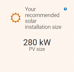 A screenshot of the REopt Lite results page with a recommended solar installation size of 280 kW