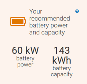 A screenshot of the REopt Lite results page with a recommended battery of 60 kW battery power and 143 kWh battery capacity.