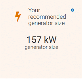 A screenshot of the REopt Lite results page with a recommended generator size of 157 kW.