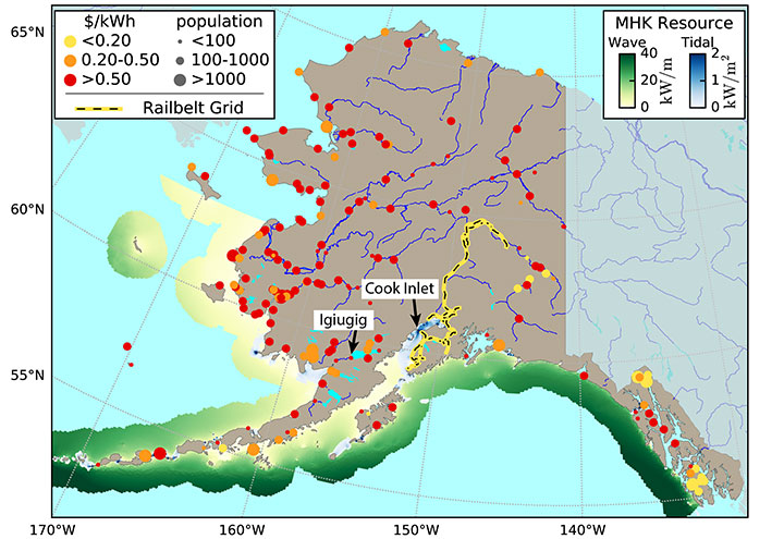 Color-coded map showing Alaska energy prices and marine energy resources.