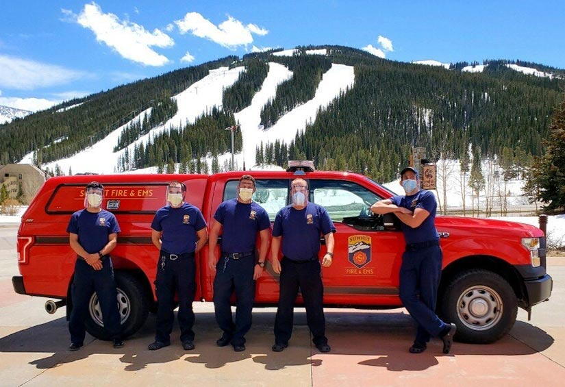 Summit County firefighters received NREL face shields to stay protected while they serve their community. Photo by Jenn Oese, Summit Fire & EMS