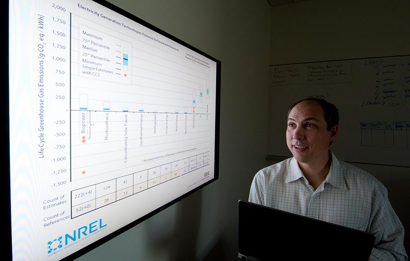 Photo of a man looking at a computer screen with data about emissions from natural gas production.