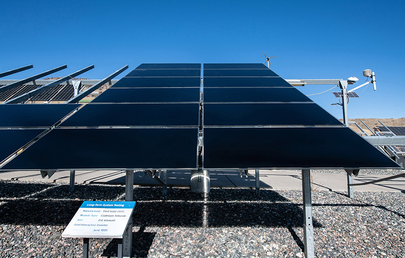 Photo of an outdoor array of solar panels