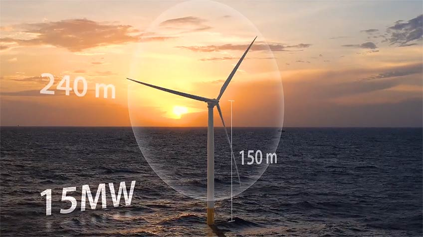 A 3D turbine model with height and rotor dimensions sits in the ocean at sunset.